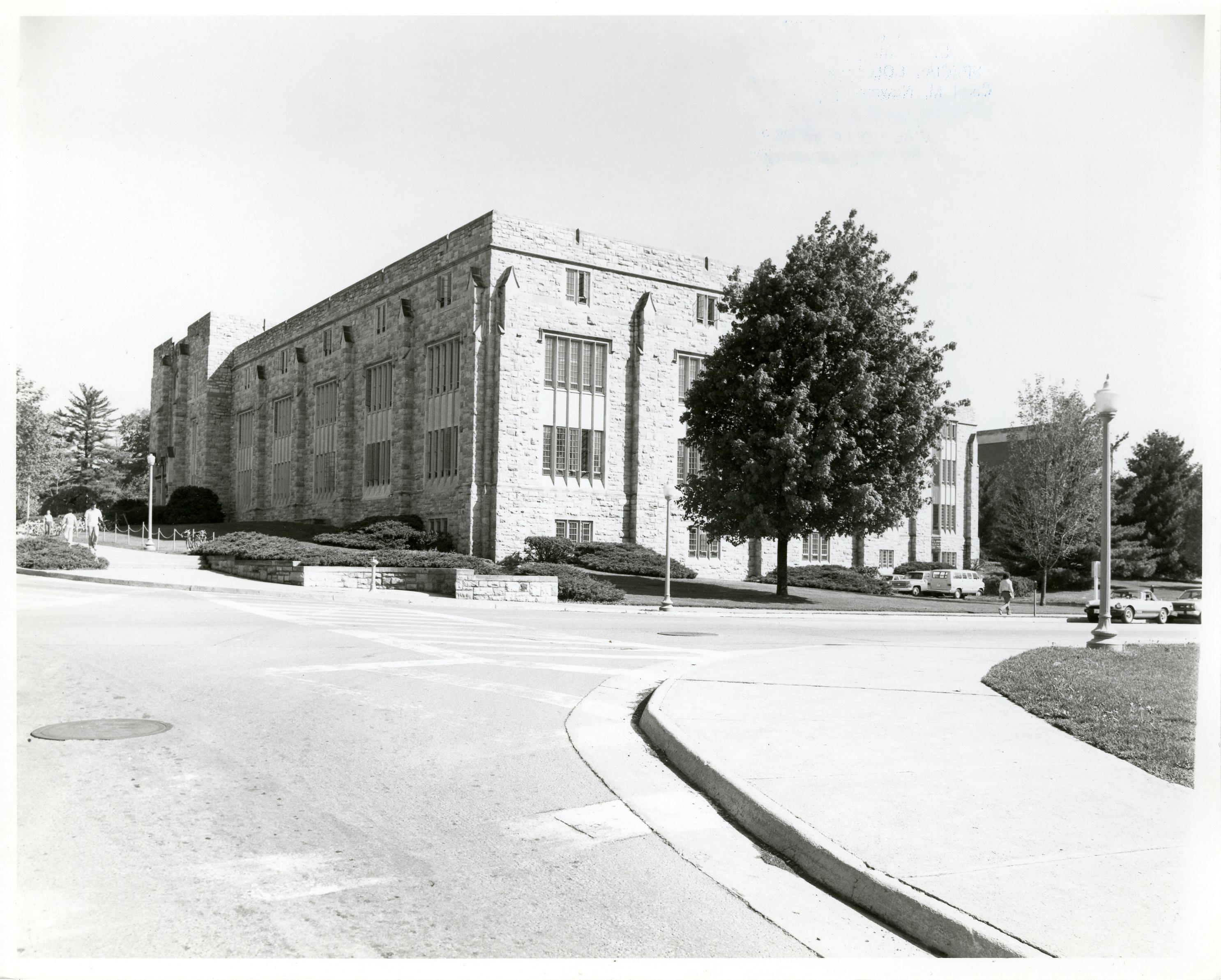Newman Library, exterior (looking toward the current plaza between the library and bookstore), 1978