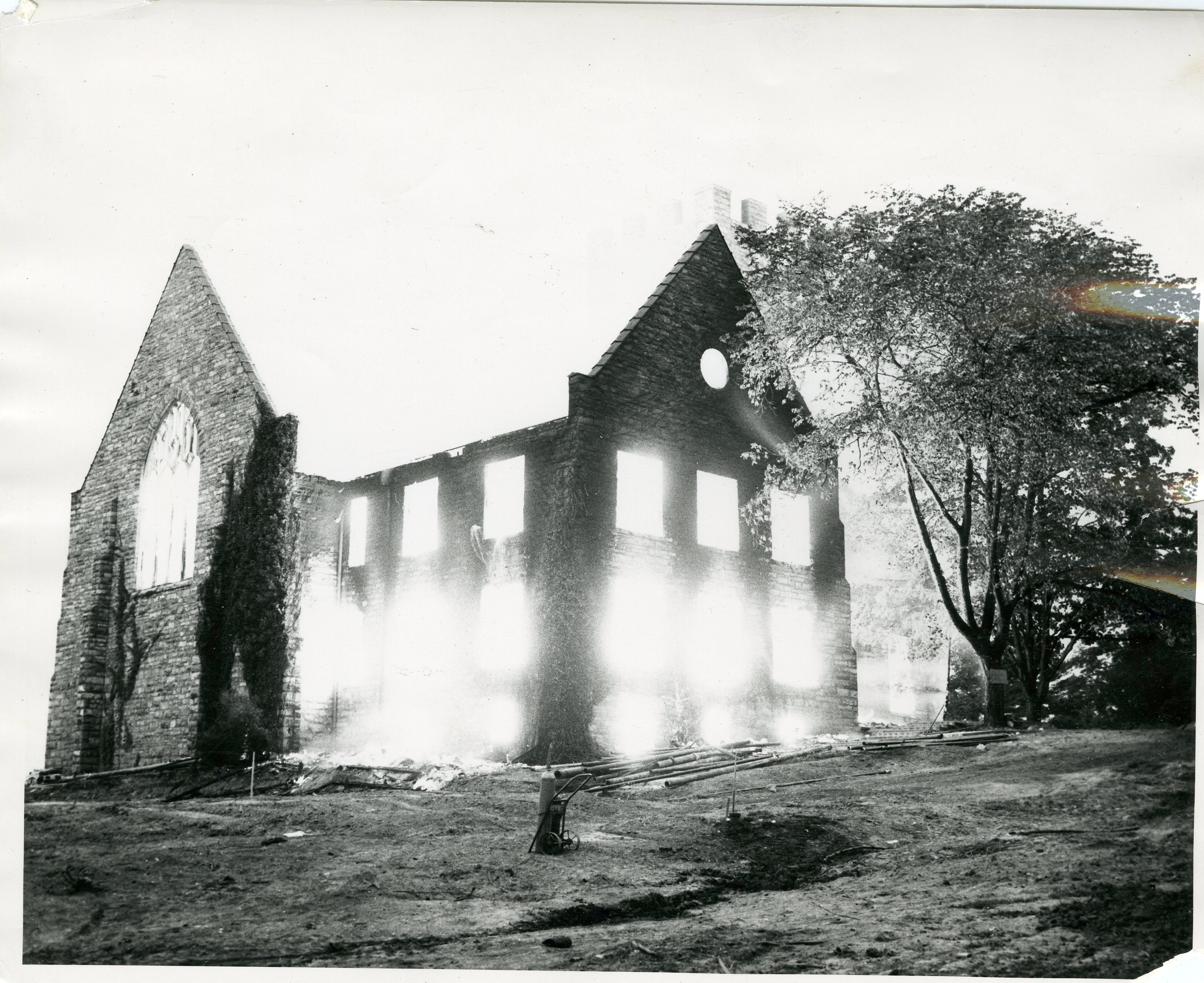 Old Library, during the fire, August 1953