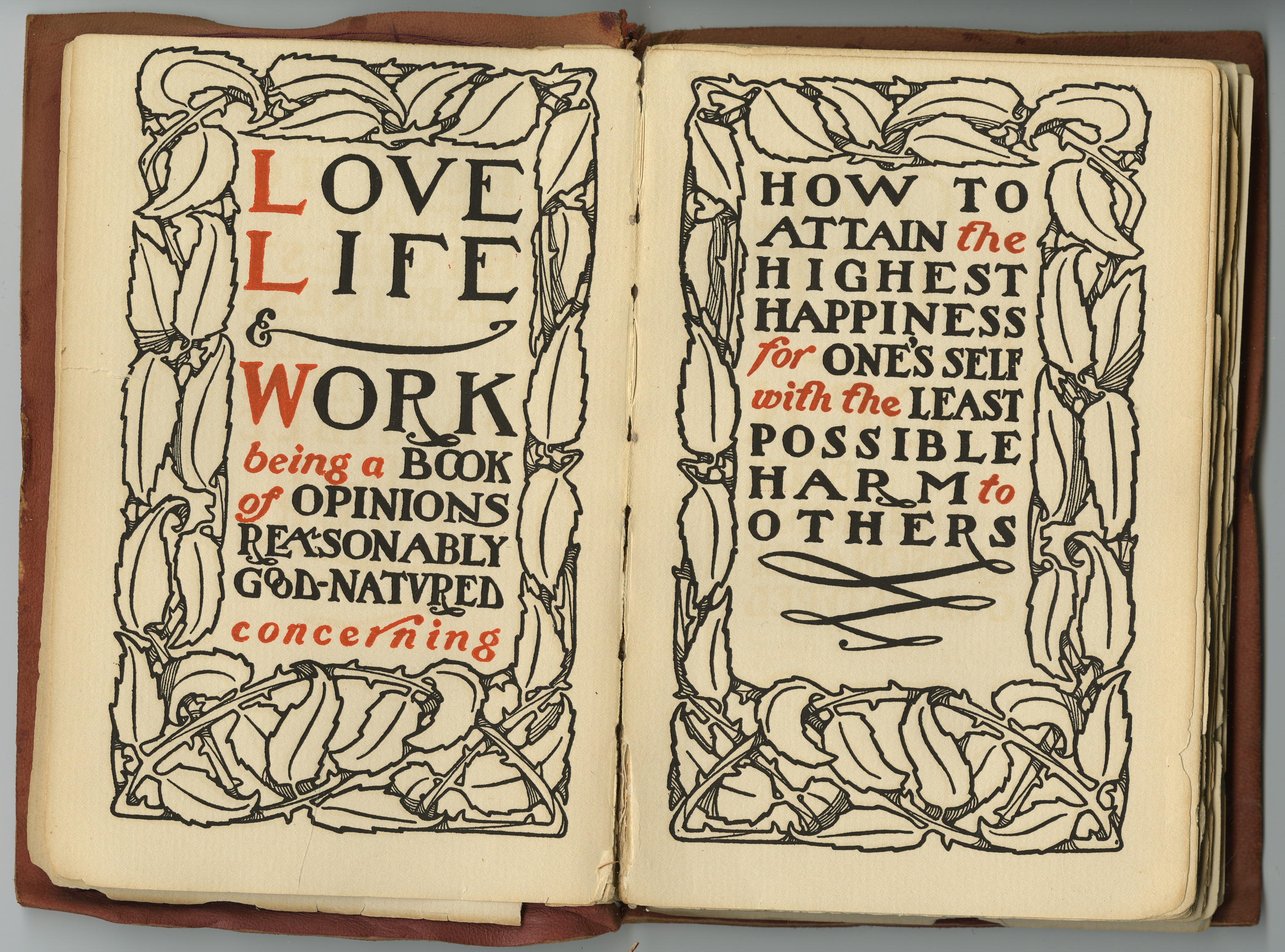 Title Pages from Love, Life & Work by Elbert Hubbard (East Aurora, NY: The Roycrofters, 1906.)