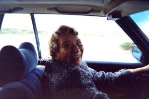 Photo: Milka Bliznakov in a car