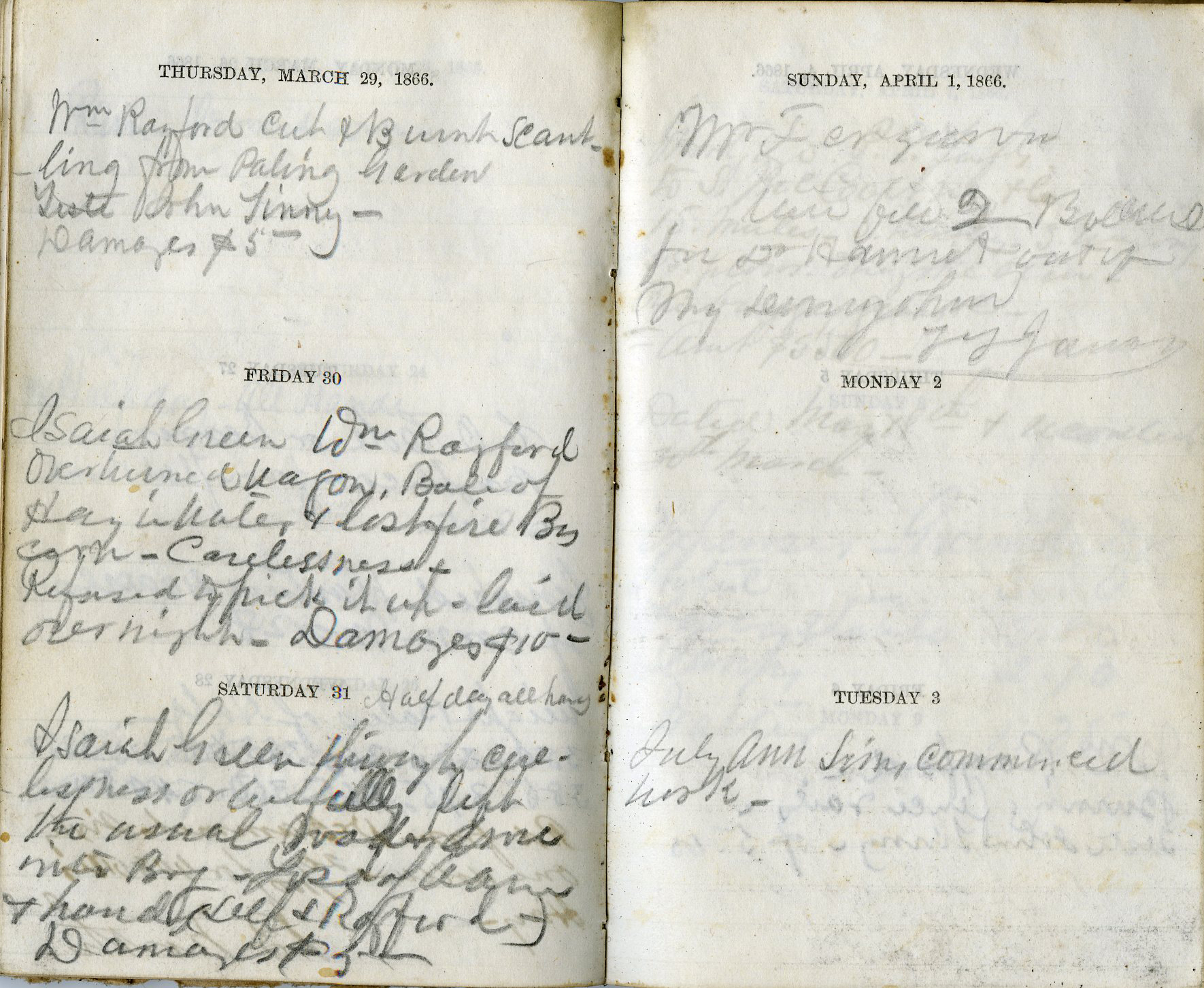 "Many of the journal entries made by James P. Hammet while managing operations of Lammermoor relate to fines he imposed on freedmen working at Lammermoor. The entry for March 30, 1866 reads: ""Isaiah Green Wm Rayford overturned a wagon, Bale of Hay in water...  By [cause?] - Carelessness - Refused to pick it up - laid over night. Damages $10-."" Elsewhere Hammet says of the workers, ""A more triffling [sic] set never were congregated together."""