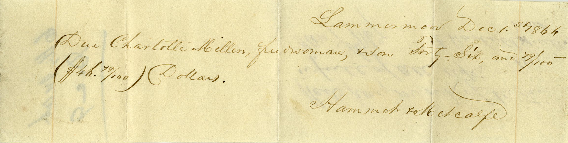 Voucher for wages due Charlotte Miller, freedwoman, by Lammermoor Plantation in 1866. Miller acknowledged receipt, by making her mark, on the reverse side of the slip.