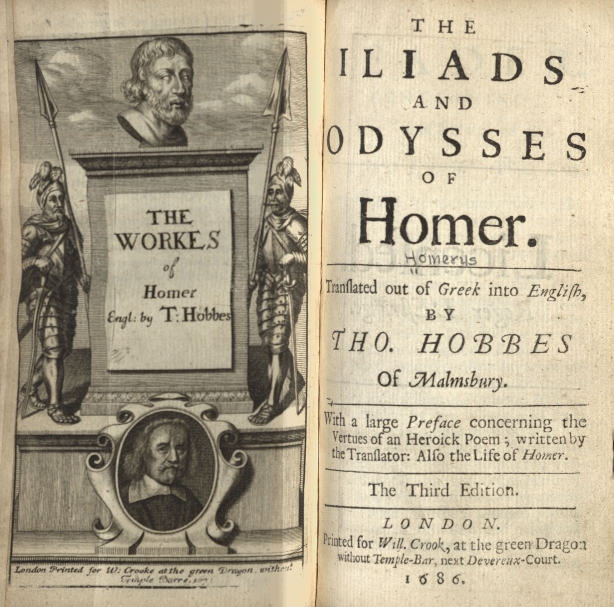 Title Page Hobbes's translation Homer's Odyssey 1686 Third edition