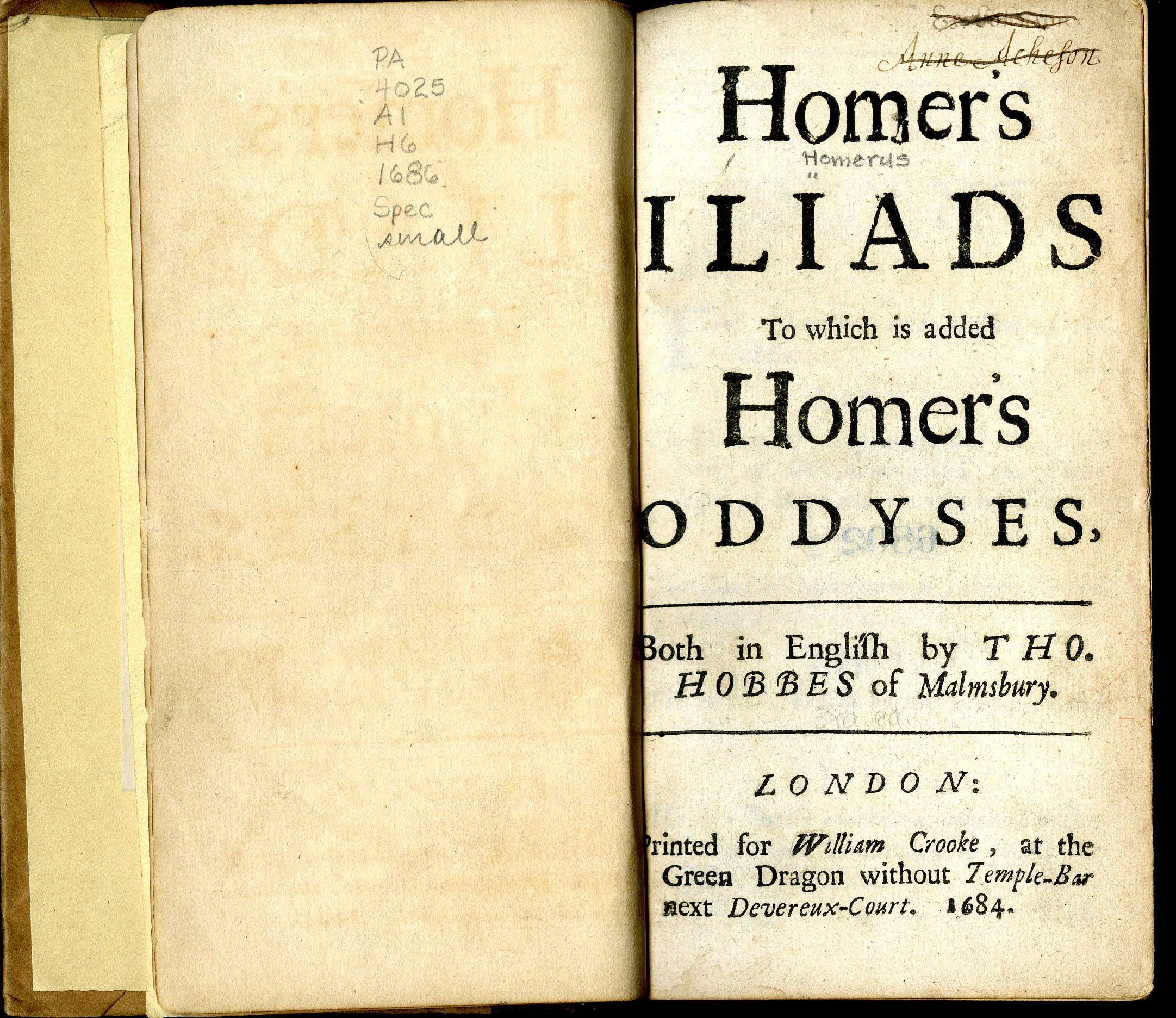 Thomas Hobbes's translations of Homer, 1684/1686