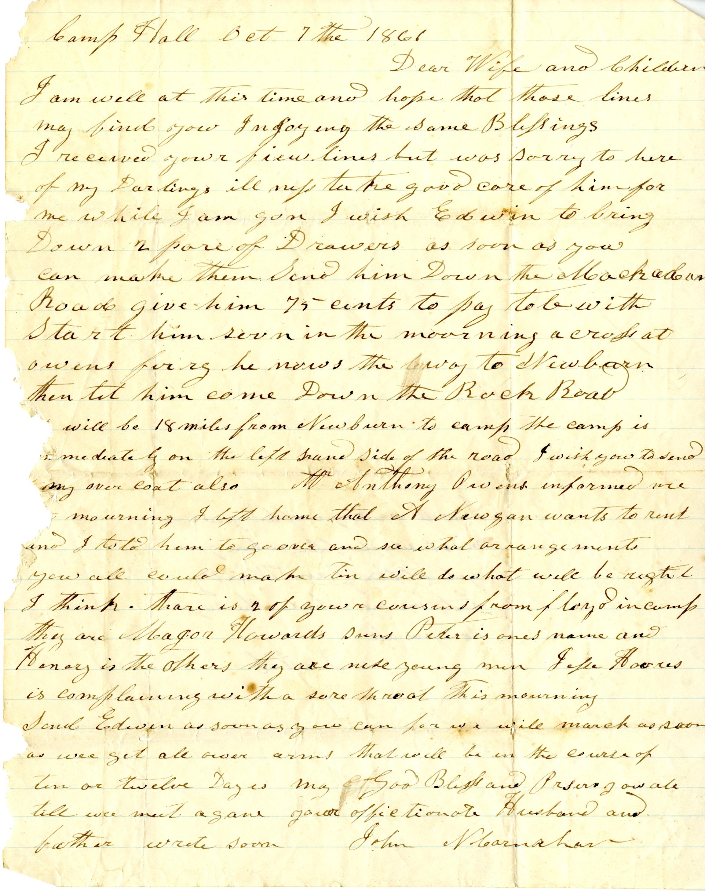 John Newton Carnahan Letters, Ms2009-112