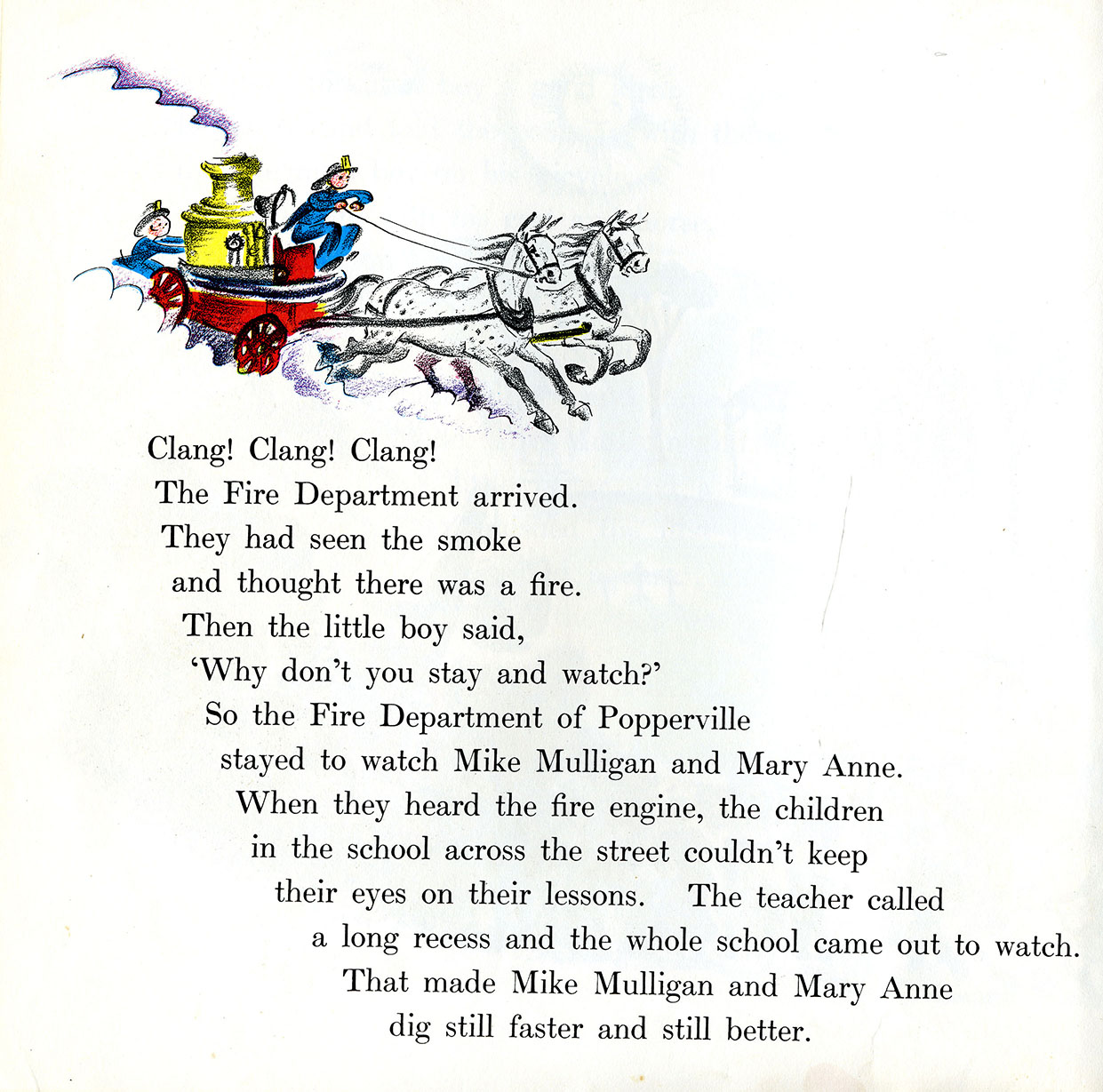 The fire engine speeds on its way . . . from Mike Mulligan and His Steam Shovel by Virginia Lee Burton, first published in 1939