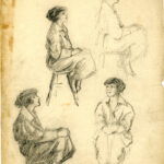 pencil drawing of a young woman on a stool