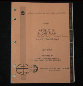 Michael Collins's flight plan for Apollo 11, with his inscription