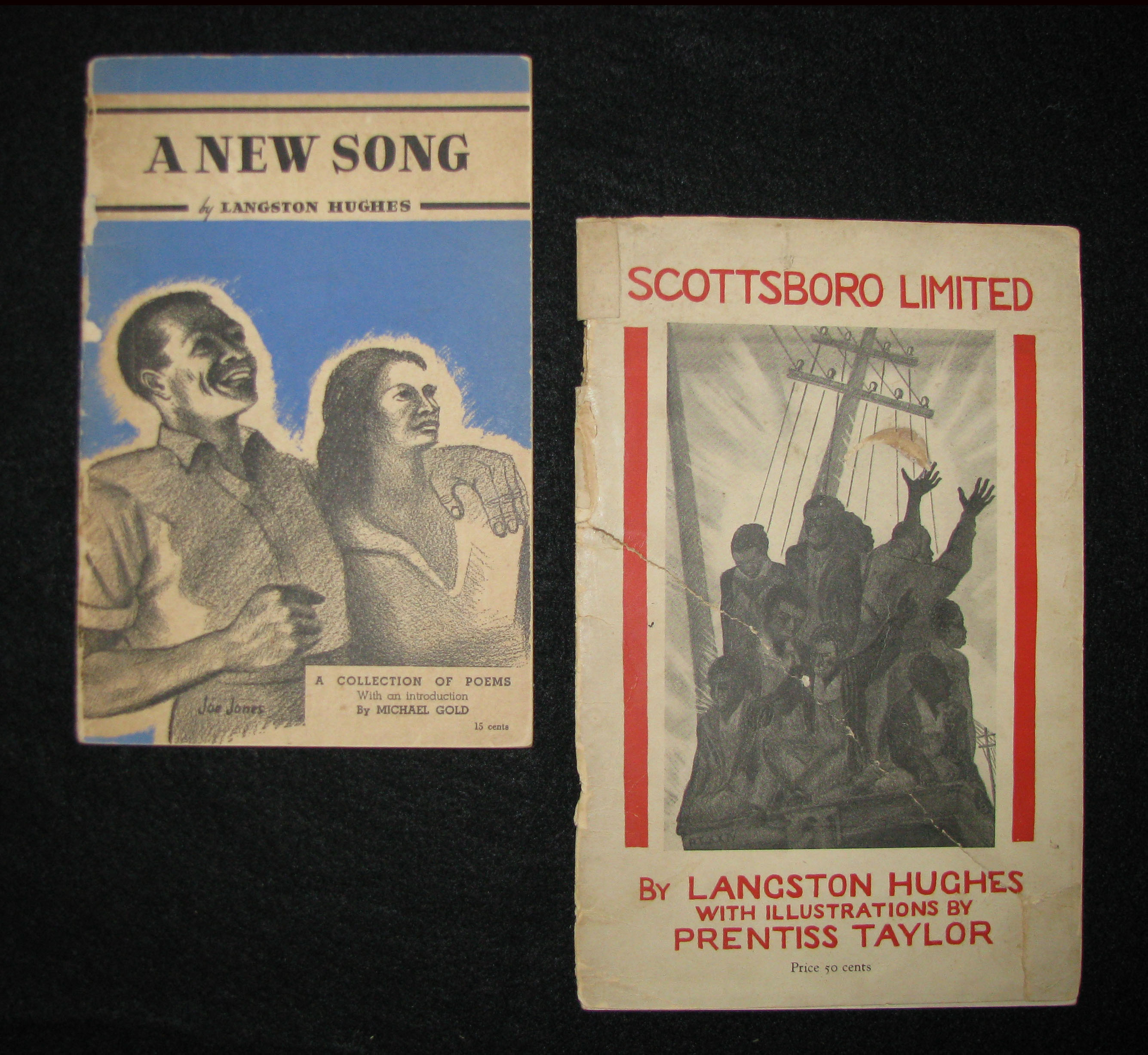 Two works by Langston Hughes: A New Song (1938; signed) and Scottsboro Limited (1931)