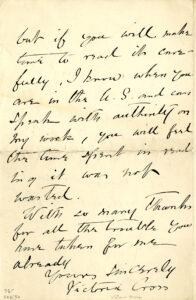 Ms1987-039, Victoria Cross Letter