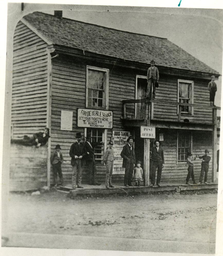 C. 1900, the Post Office and Hack Depot shared a building on Main St., several blocks away from campus.