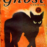 Cover art for pulp magazine 'Ghost Stories' featuring black cat with arched back.