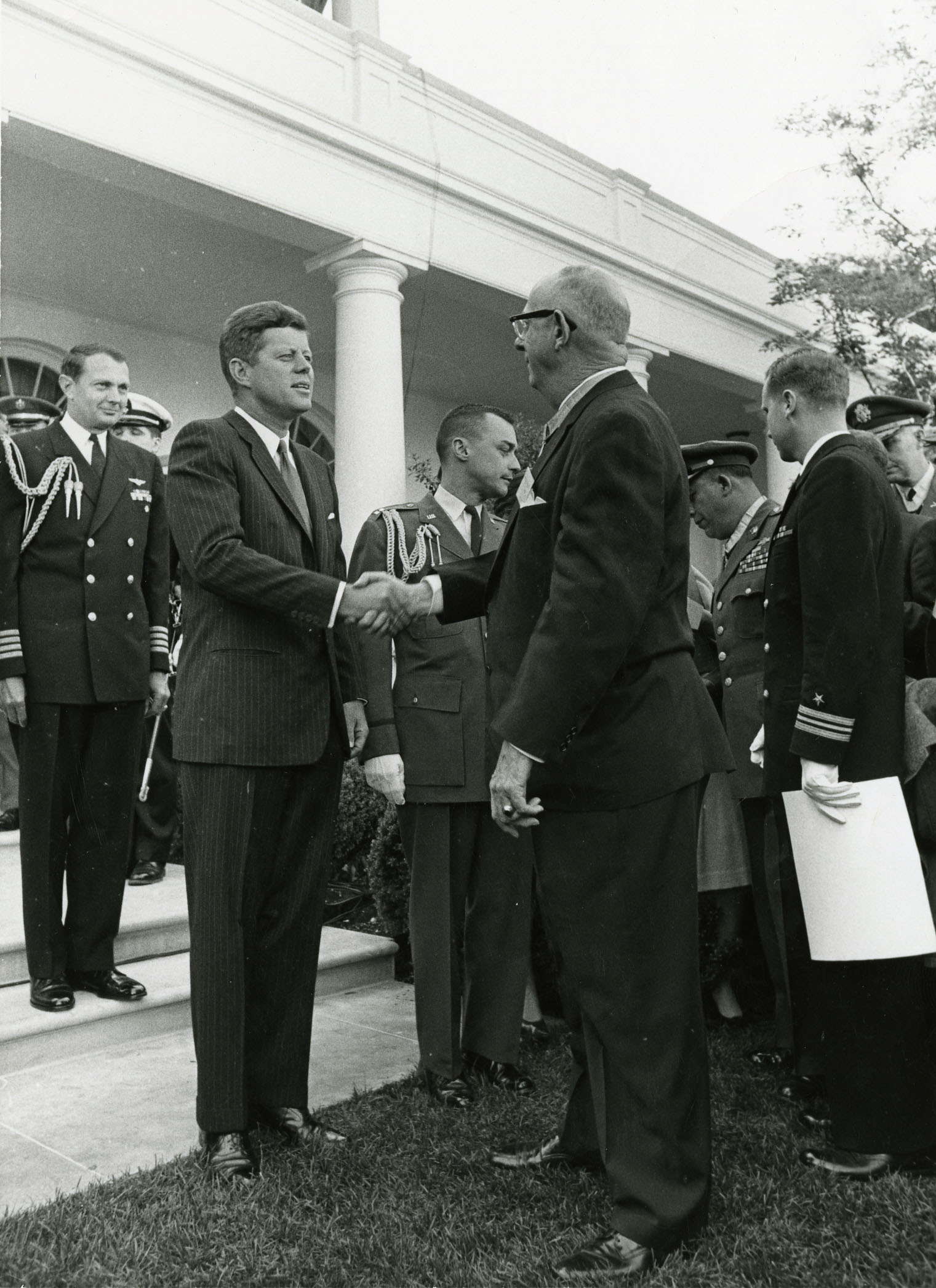 Gregory meeting president John F. Kennedy at a military reception at the White House, May 2, 1963.