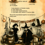 Recipe for 'Witch Mix-Up' featuring Cracker Jacks, candy corn, marshmallows, and licorice dots.