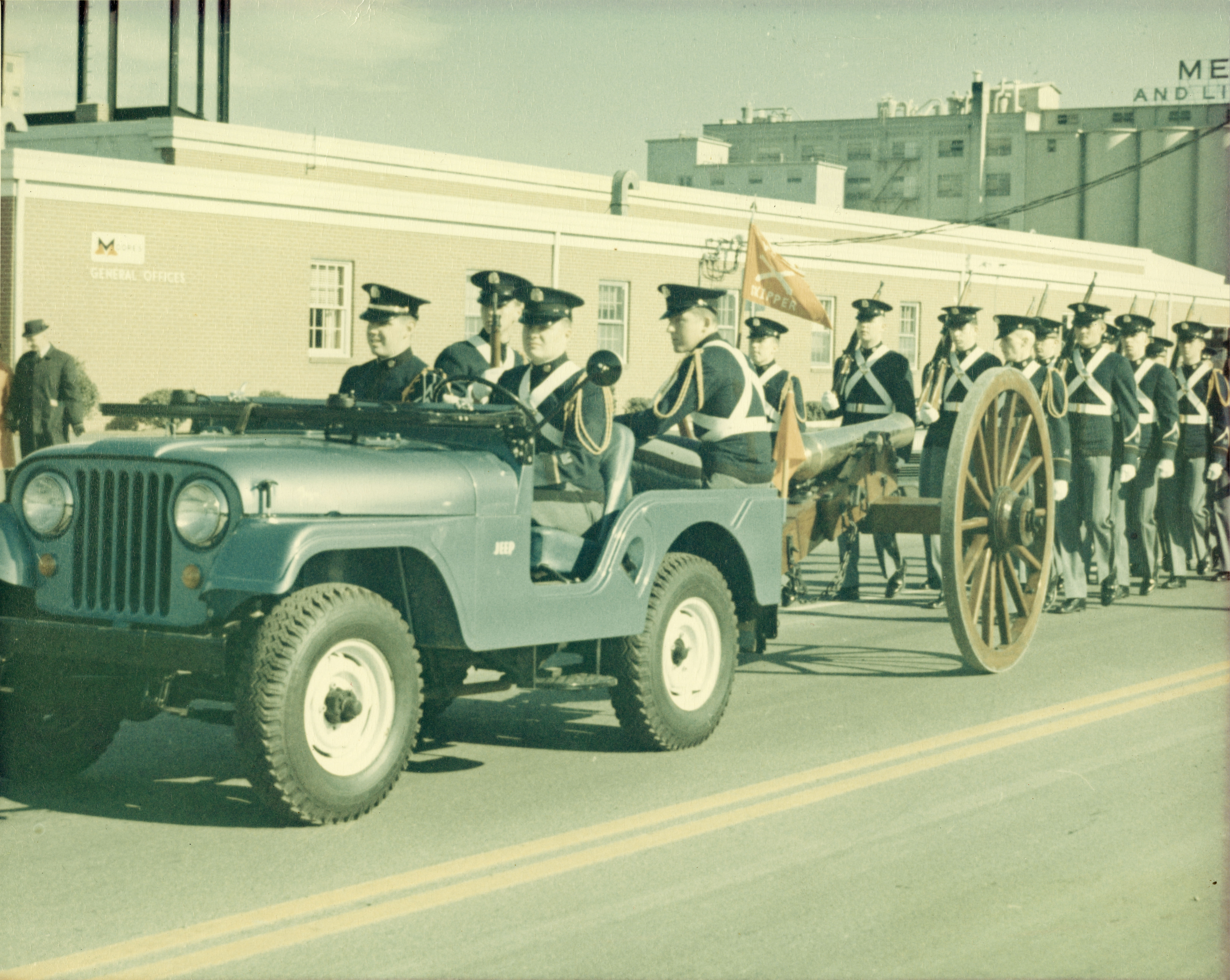 Cadets parade the Skipper cannon through the streets of Roanoke, circa Thanksgiving 1964