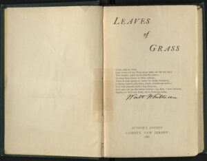 Inscription, spine, and signed title page of the 1882 Author's Edition of Leaves of Grass.