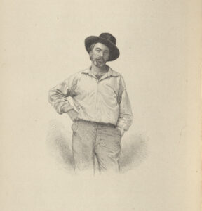 1855 engraving of Whitman from the Author's Edition, 1882