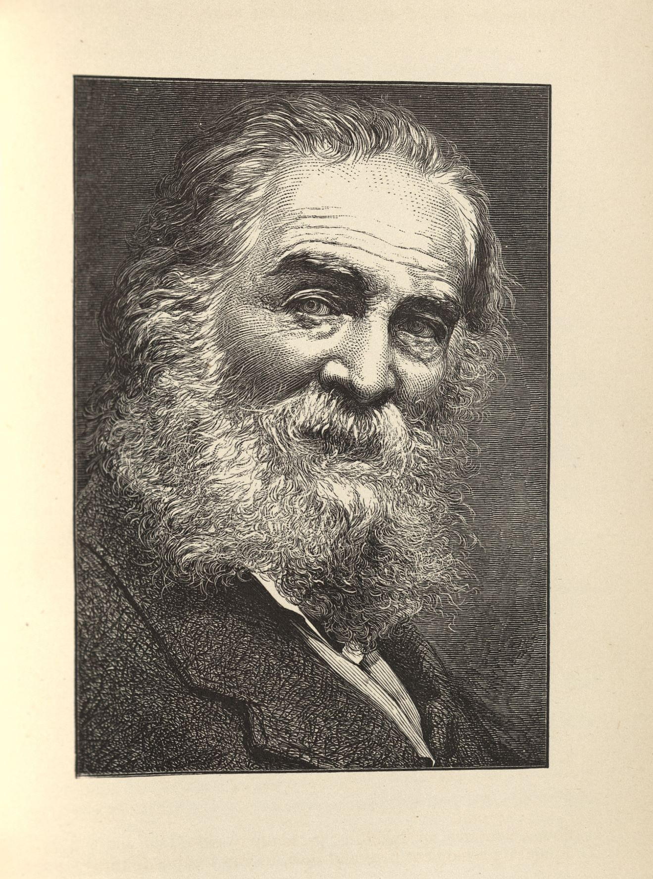 Engraving of Whitman as an older man, from the Author's Edition of Leaves of Grass, 1882