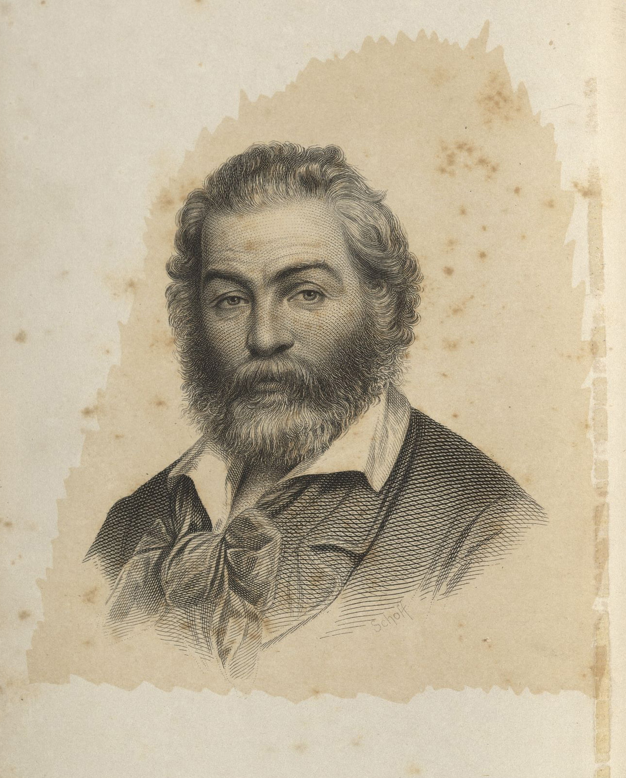 Engraving of Whitman as frontispiece of the 1860 third edition of Leaves of Grass.