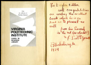 Inside front cover of The Great Gatsby (1925) with F. Scott Fitzgerald's inscription to Dayton Kohler, dated 1934.