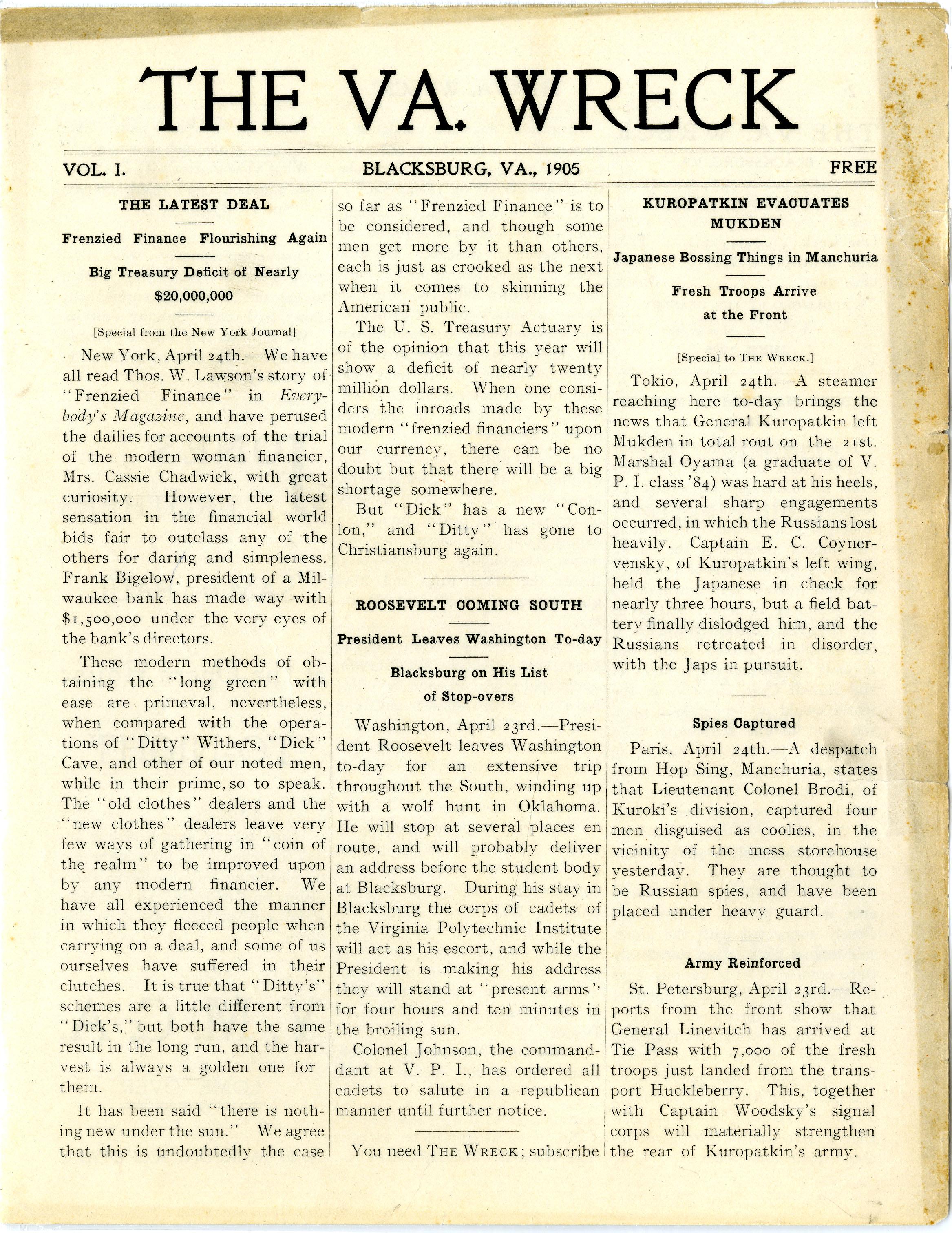 The VA. Wreck, Vol. 1. (1905)