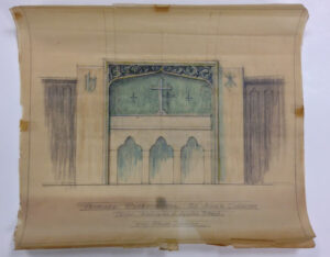 hand drawn colored architectural drawing