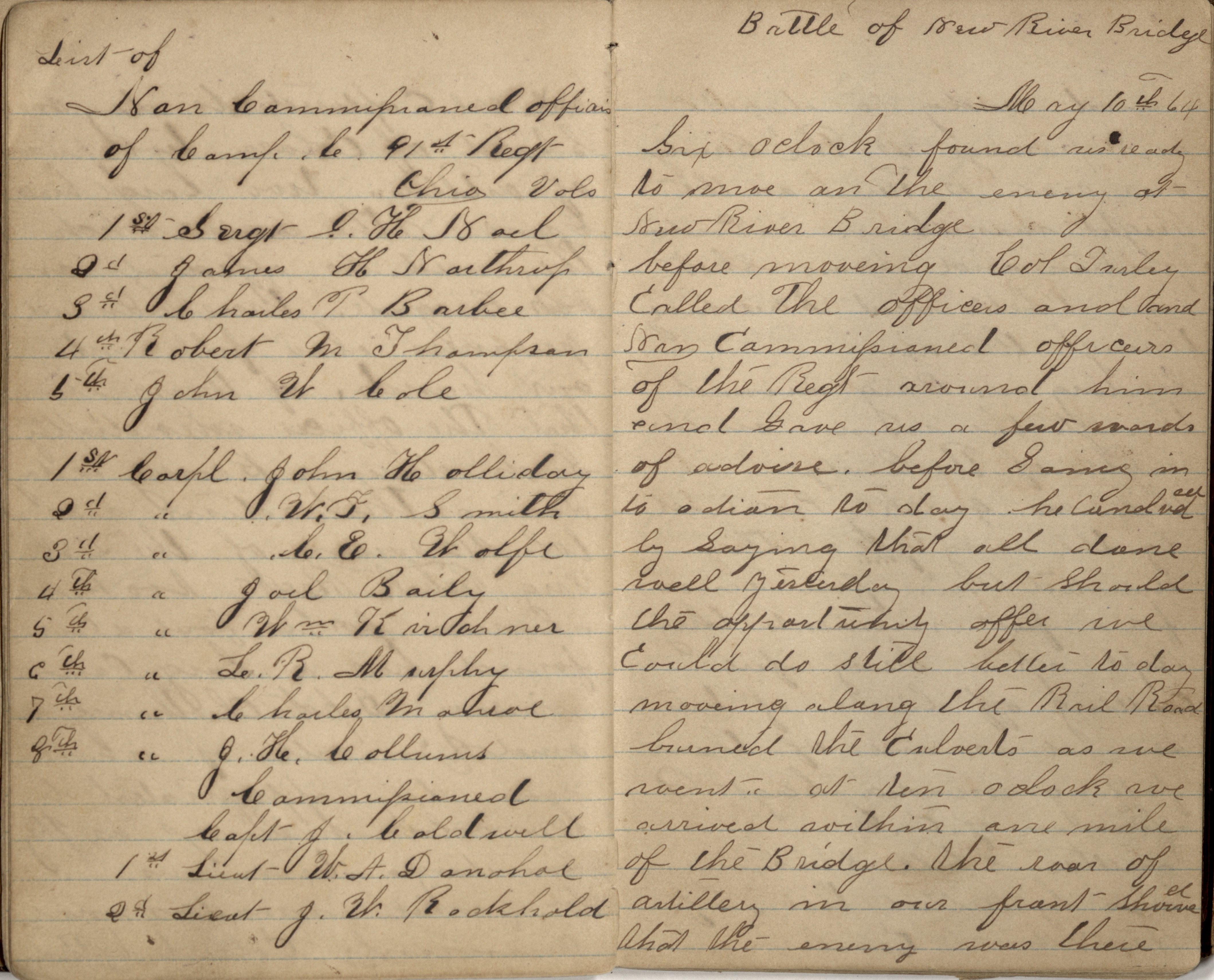 A page spread from John Holliday's first diary, featuring his entry for May 10, 1864, The Battle of New River Bridge