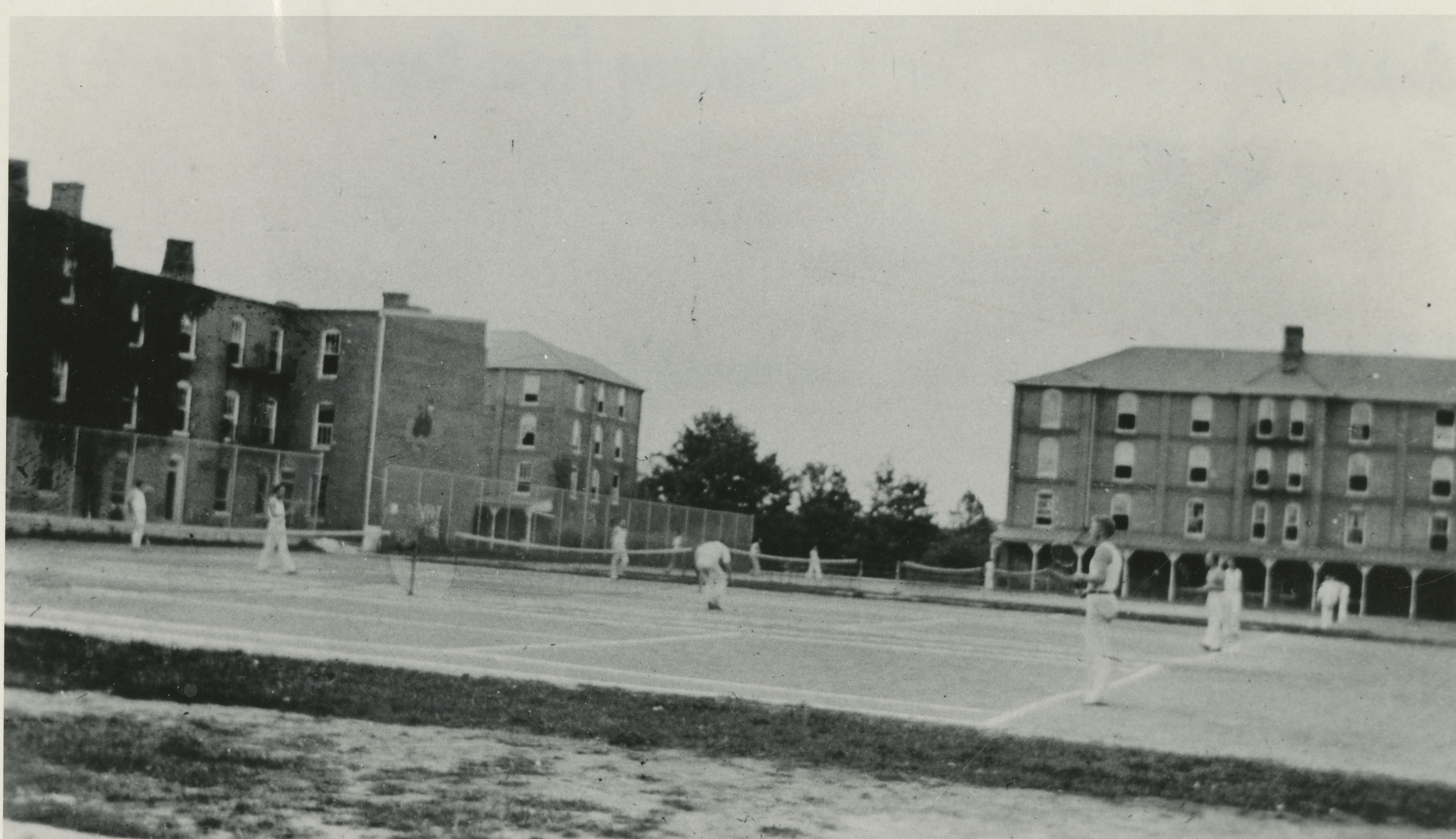 """Quadrangle Tennis Courts (looking from Barracks No. 4),"" Spring 1934"