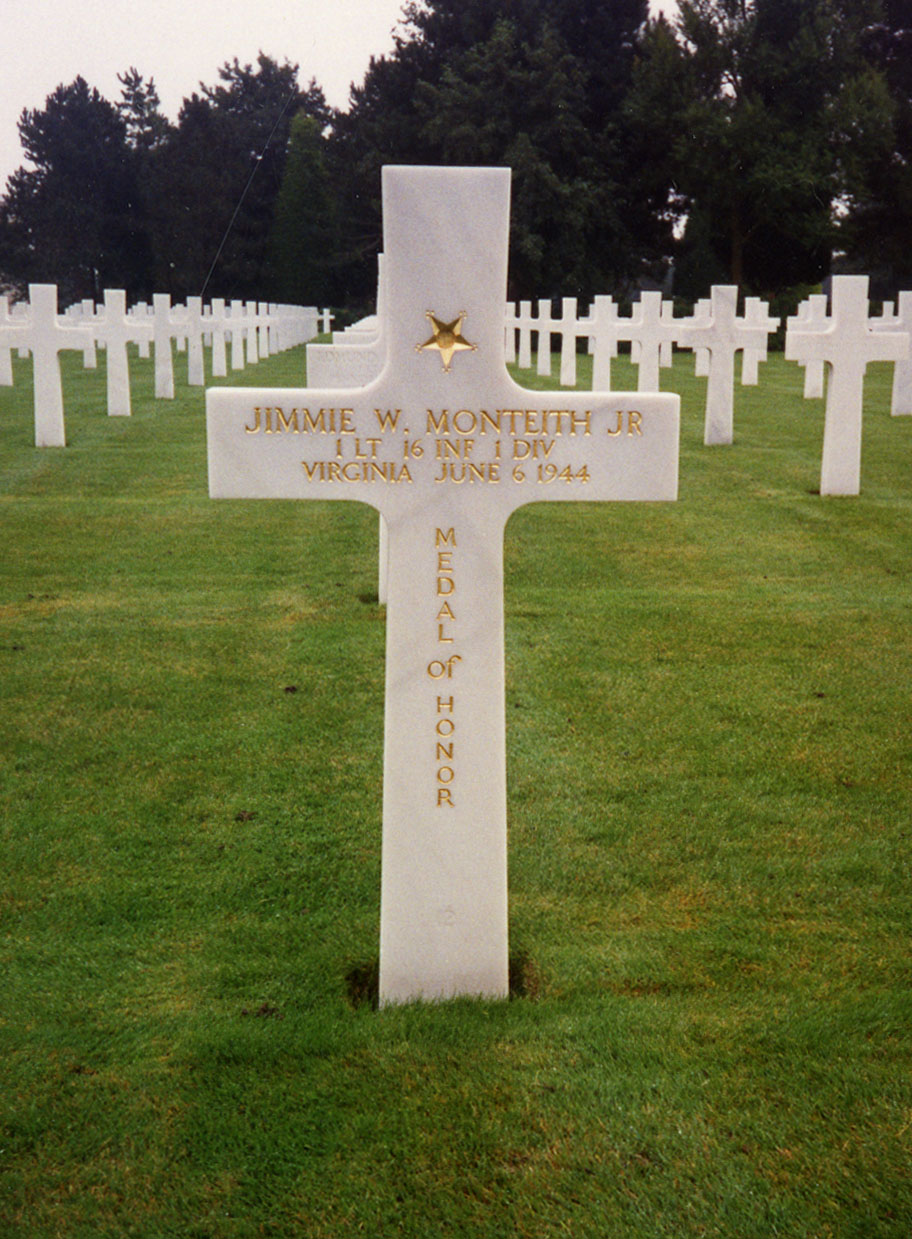 Grave marker of Jimmie Monteith, died Normandy, 6 June 1944