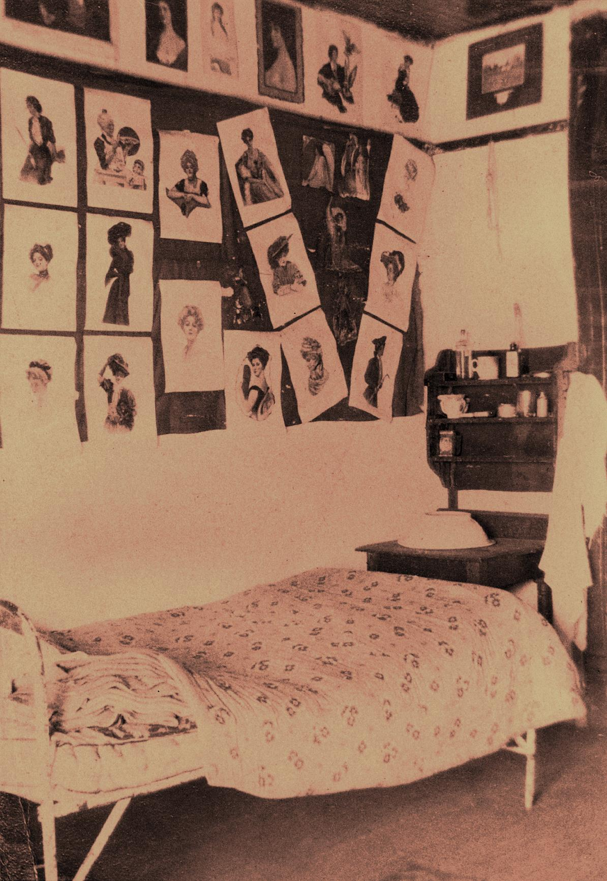 Then as now, students personalized their rooms with decorations. With no members of the opposite sex to be seen on campus, many male cadets adorned their walls with the female formor at least as much of the female form as was allowed by Victorian-era strictures.