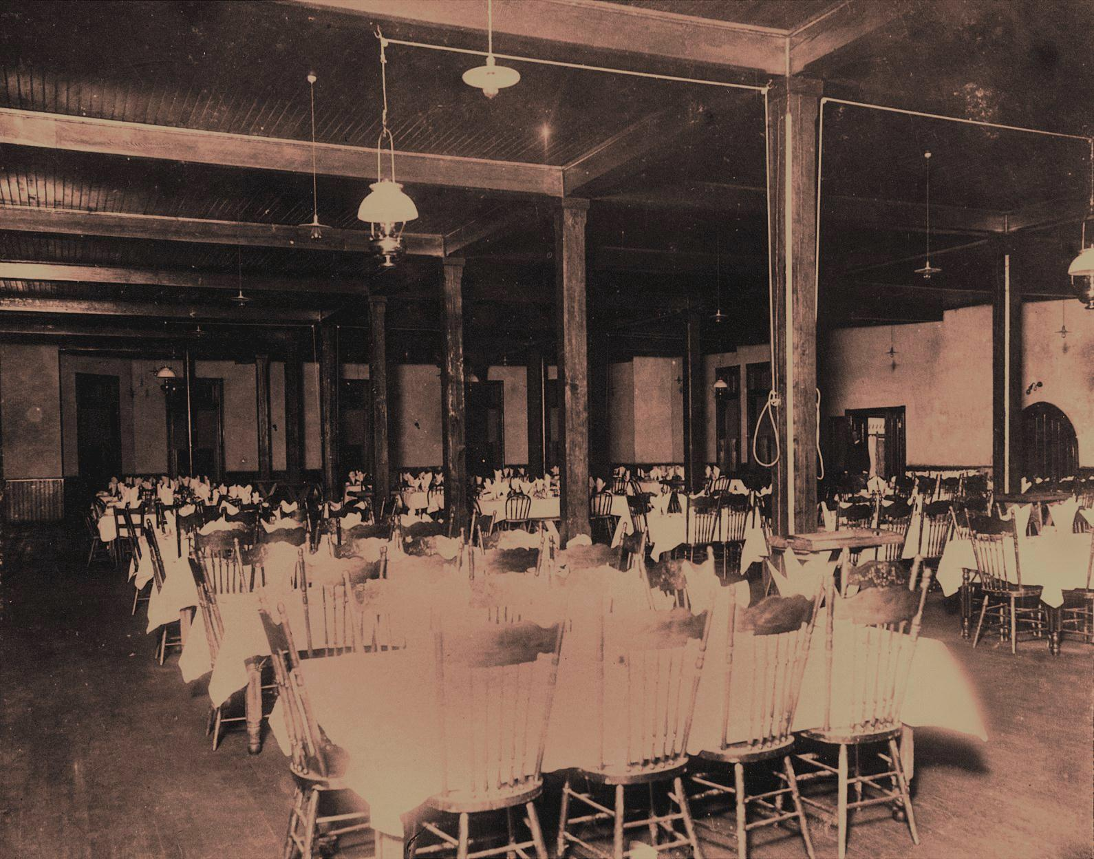 Mess hall interior, ca. 1900.