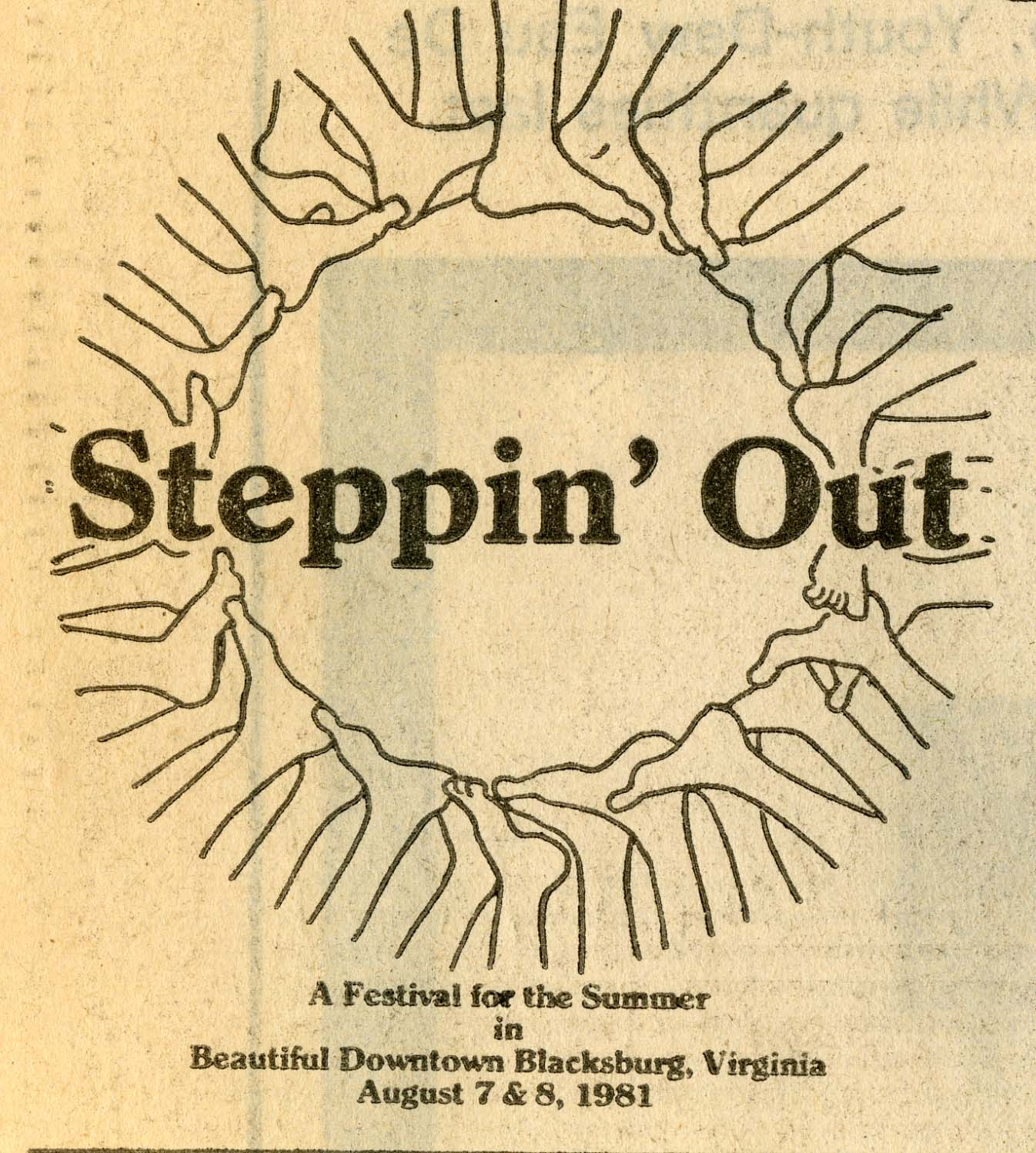 The first Steppin' Out logo, from 1981