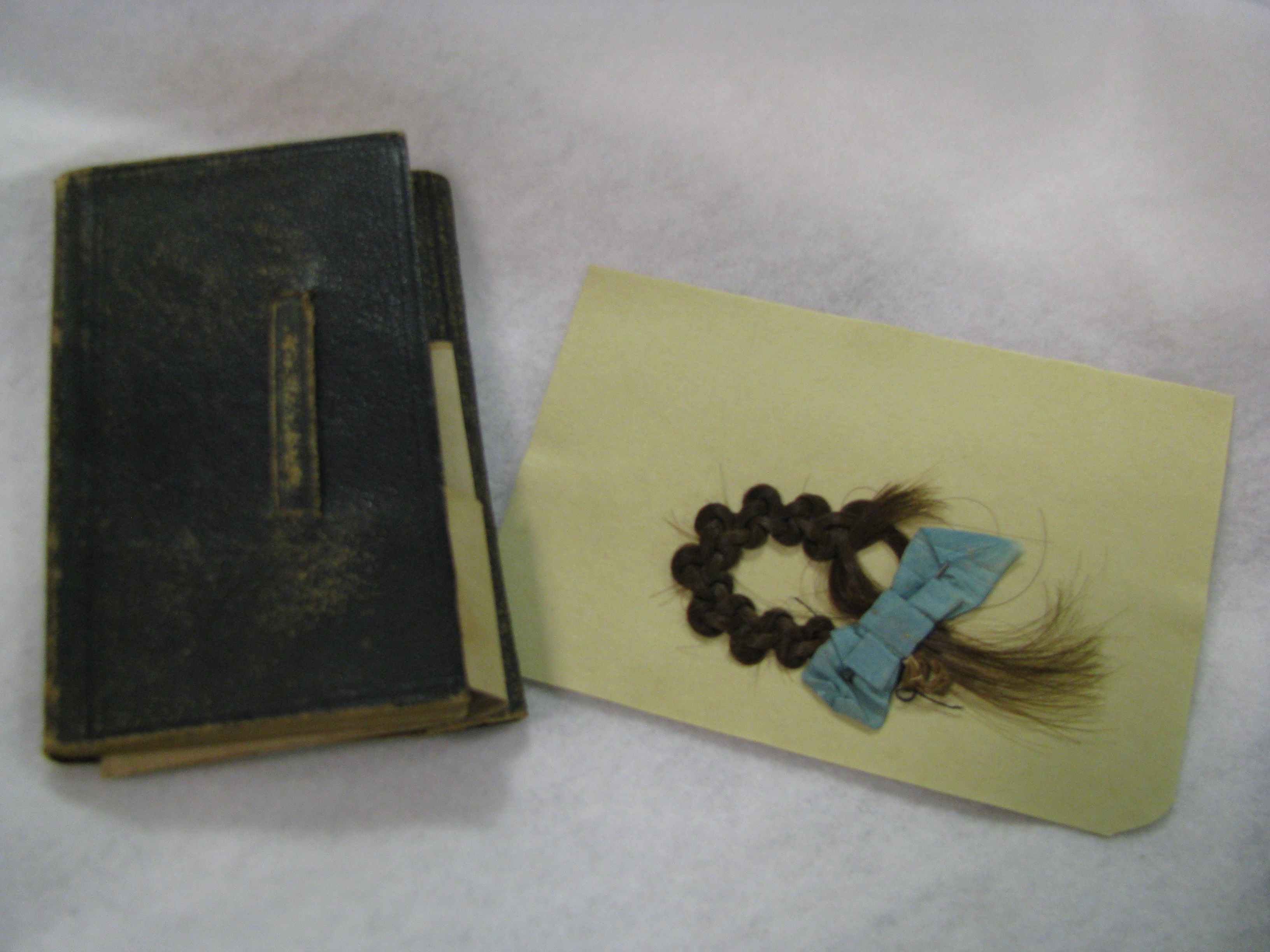 The intricate braid of this lock of hair found in the back pocket of a diary in the John D. Wagg Papers (Ms1992-048) suggests that it may have been intended for ornamental use.