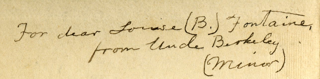 Inscription from Berkeley Minor to his niece Louise B. Fontaine in the front of Berkeley Minor's annotated copy of The Real Lincoln (1904).