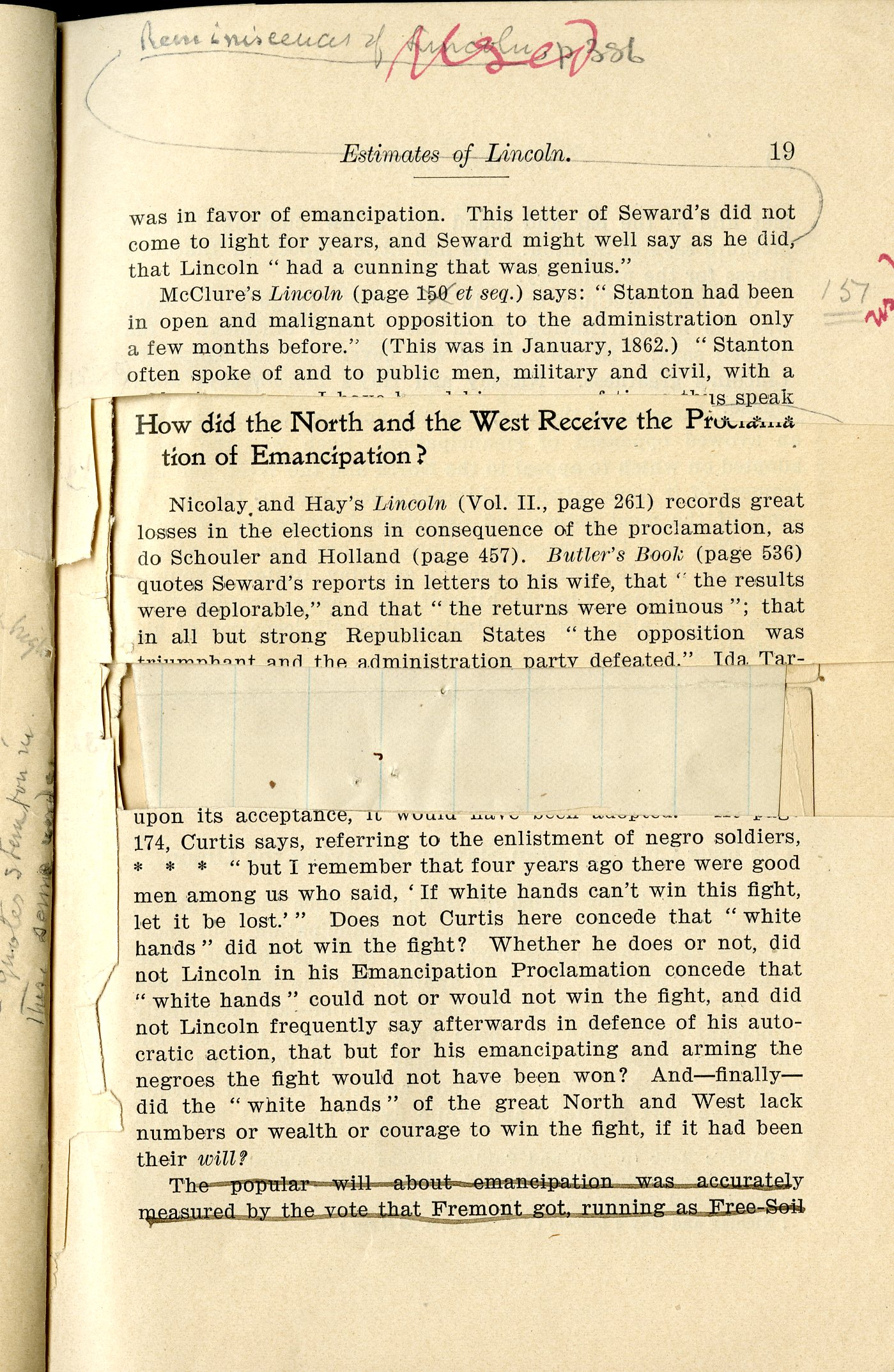 Inside pages of Minor's annotated copy of The Real Lincoln (1901) with cut text and notations.