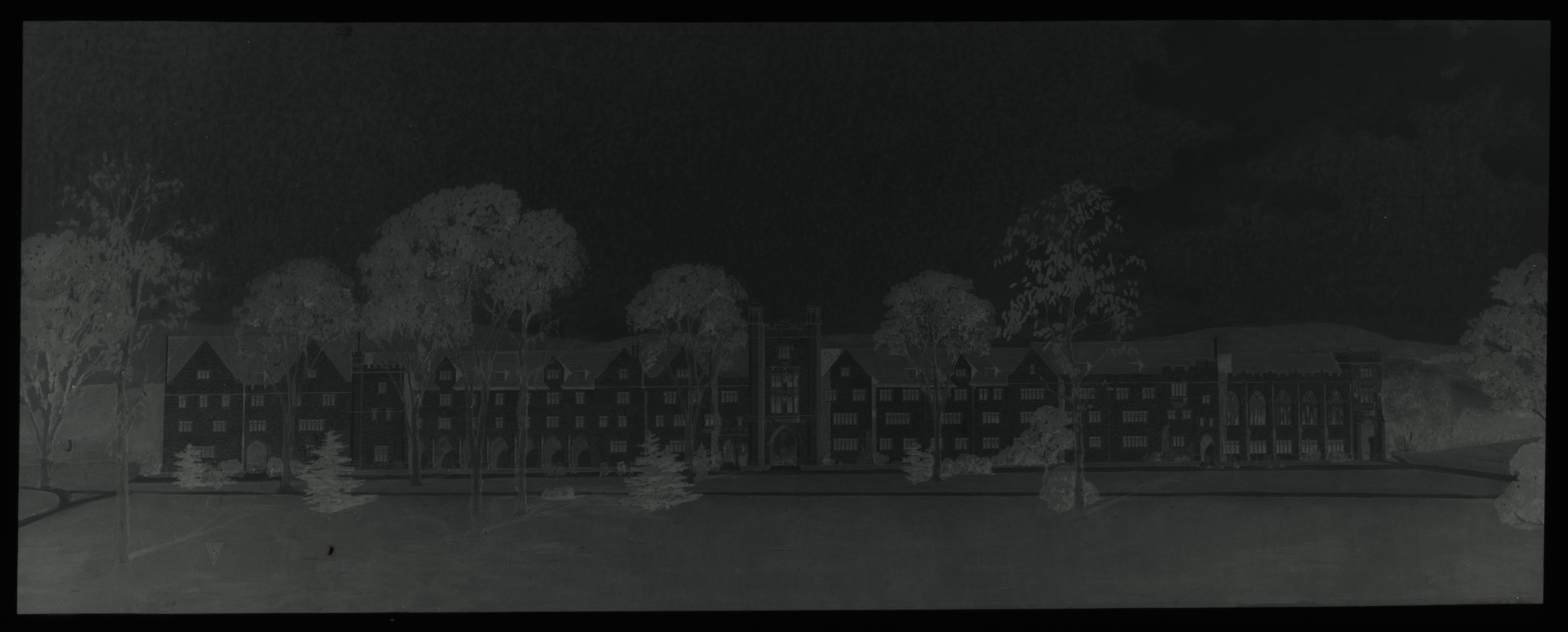 Glass plate negative of a drawing of a proposed dormitory building in the Upper Quad. The design of the current Upper Quad construction is based on these original designs.