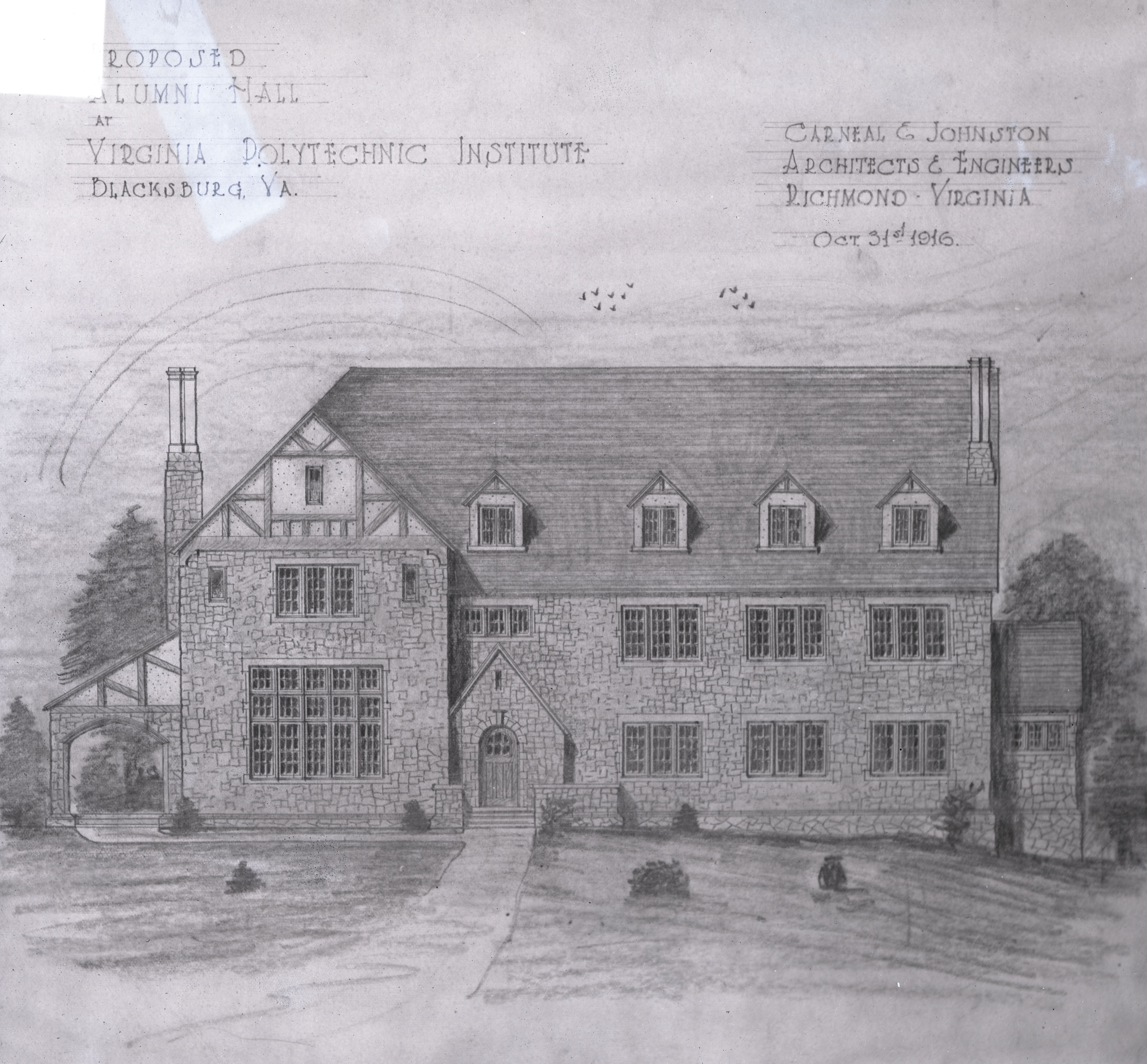 A drawing of a proposed alumni hall designed by Carneal and Johnston in 1916