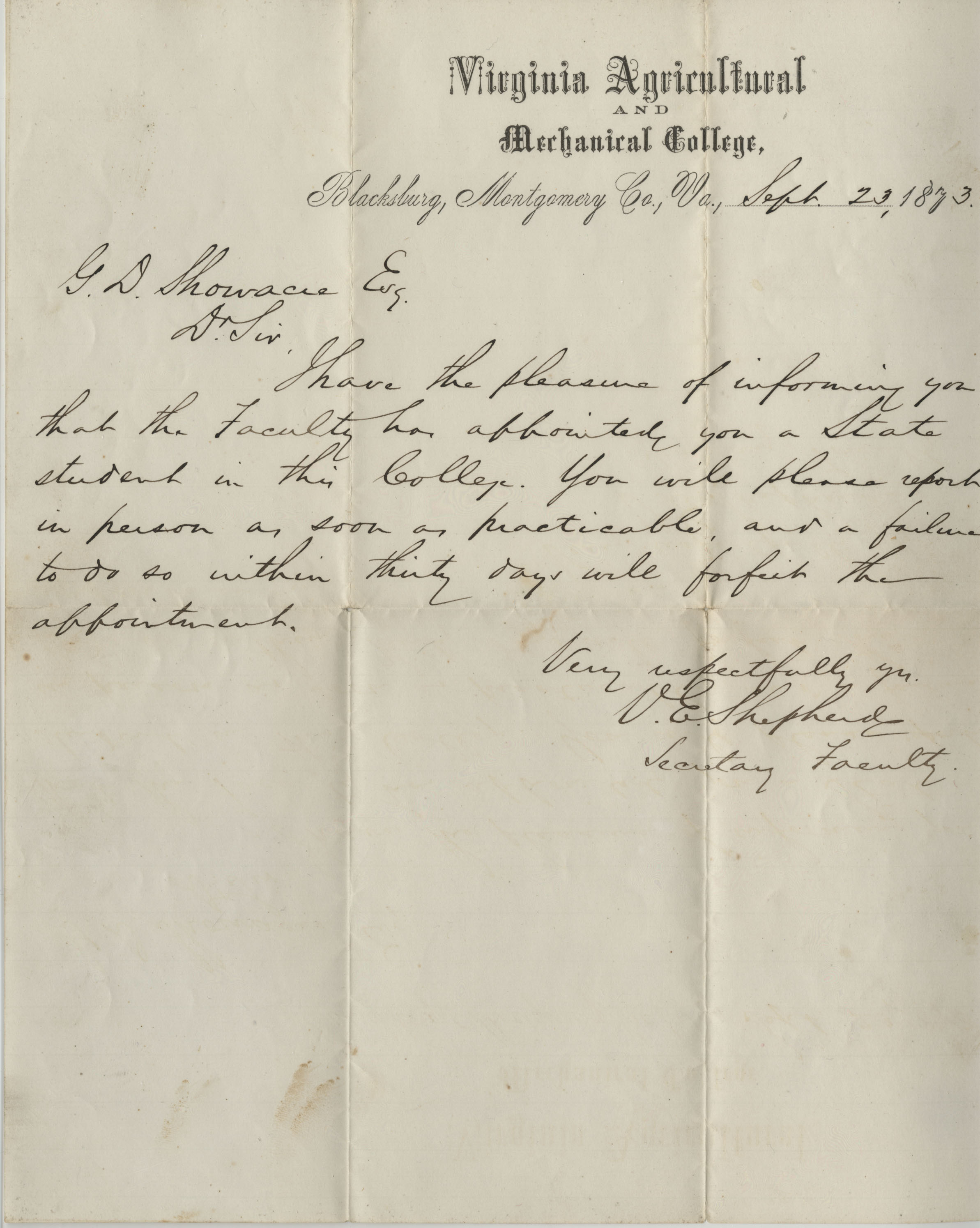 "Acceptance letter to Virginia Agricultural and Mechanical College, to ""G. D. Showacre, Esq.,"" dated September 23, 1873."