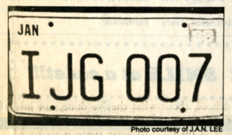 Photograph of Jack Good's Virginia license plate (from Collegiate Times, 10 Feb. 1989)