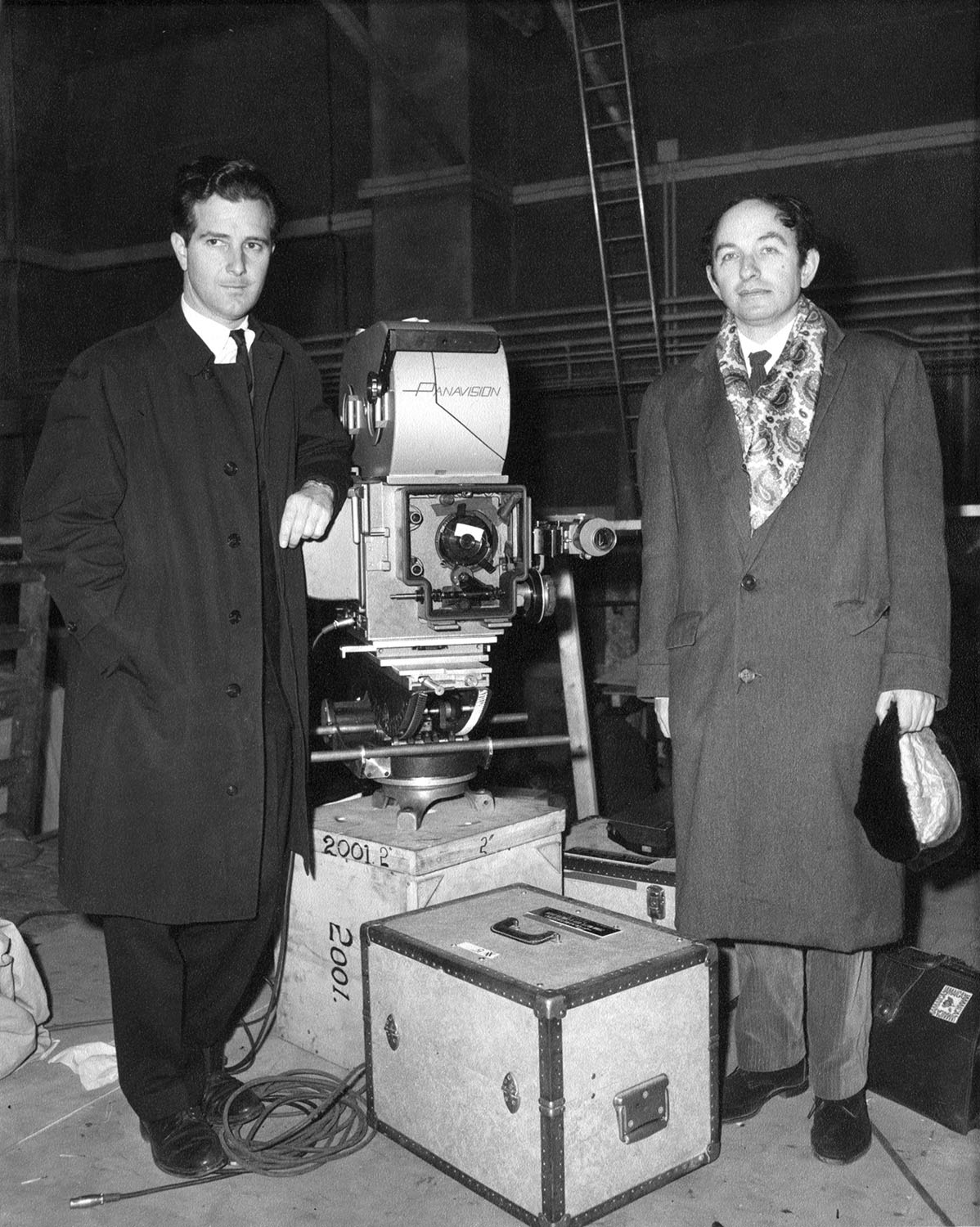 Jack Good (right) at Hawk Films Ltd., 1966, as adviser on Stanley Kubrick's 2001: A Space Odyssey