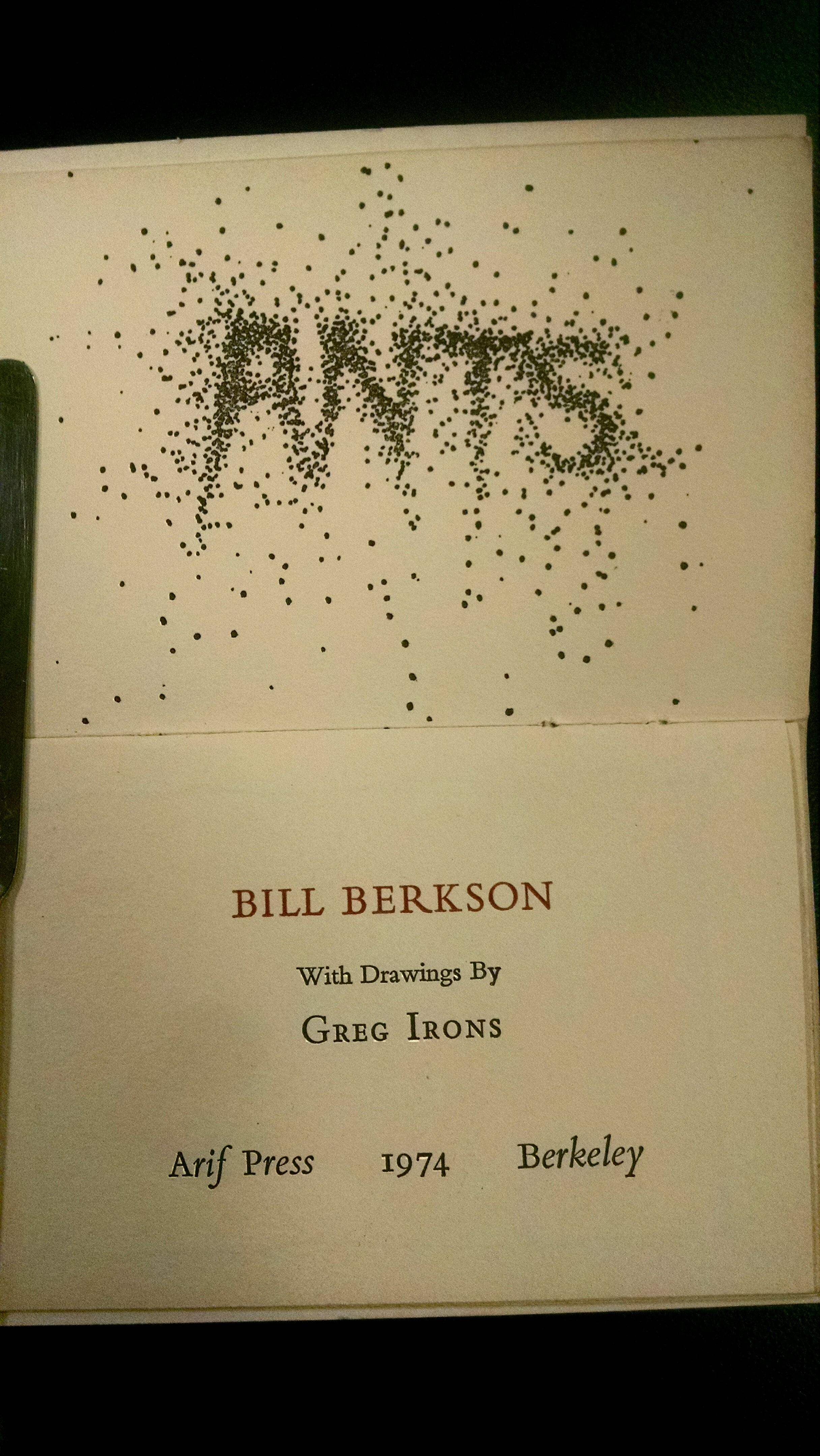 """Bill Berkson """"Ants"""" inside cover"""