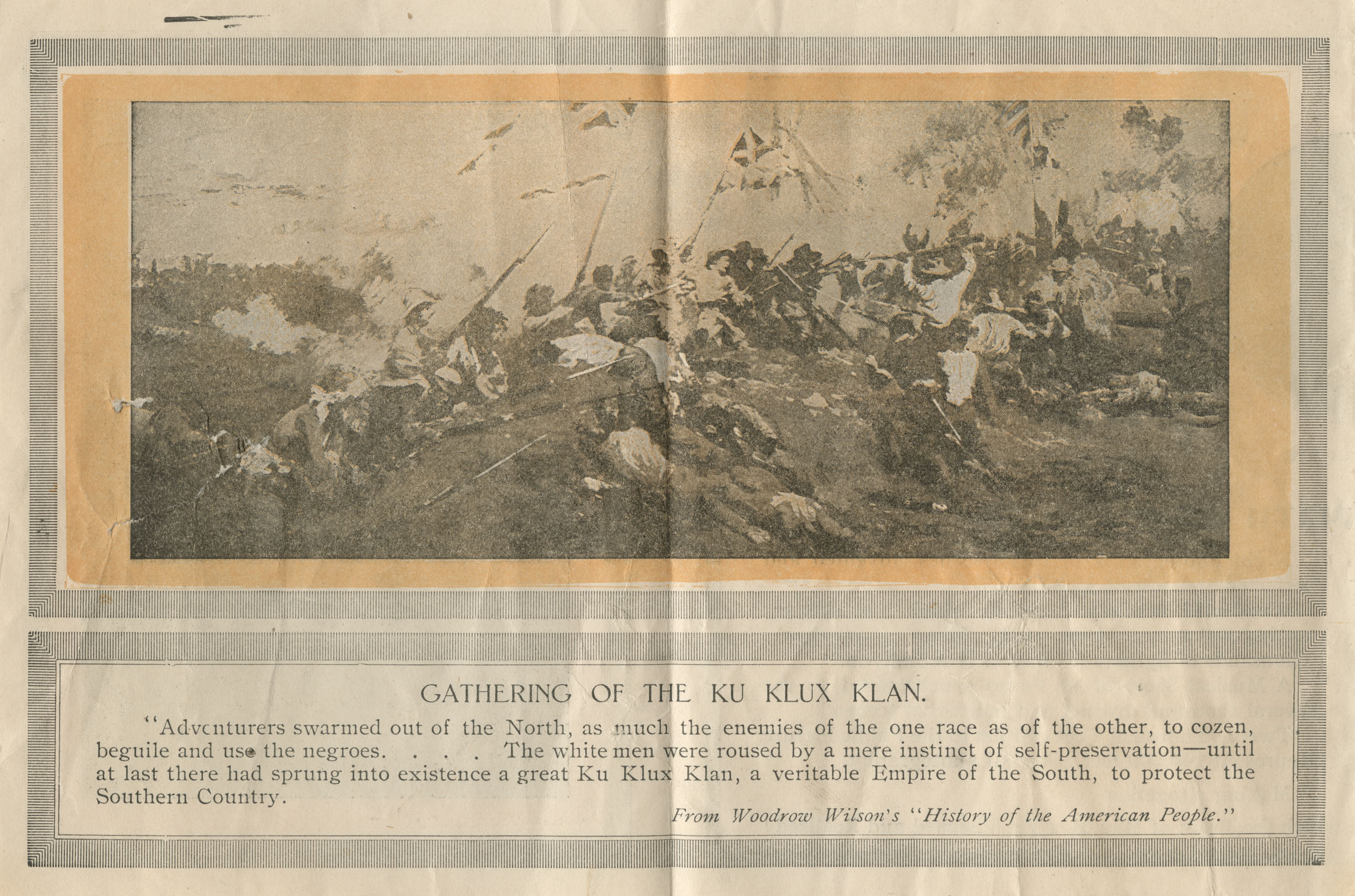 CAPTION: A page from the flyer illustrates how The Birth of a Nation mixed historic events with a subjective, fanciful view of the Klans origins.