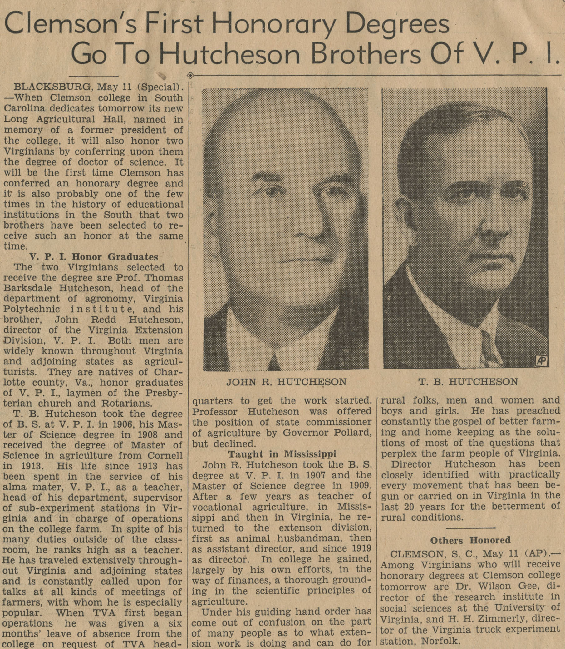 """Clemson's First Honorary Degrees Go to Hutcheson Brothers of V.P.I."""