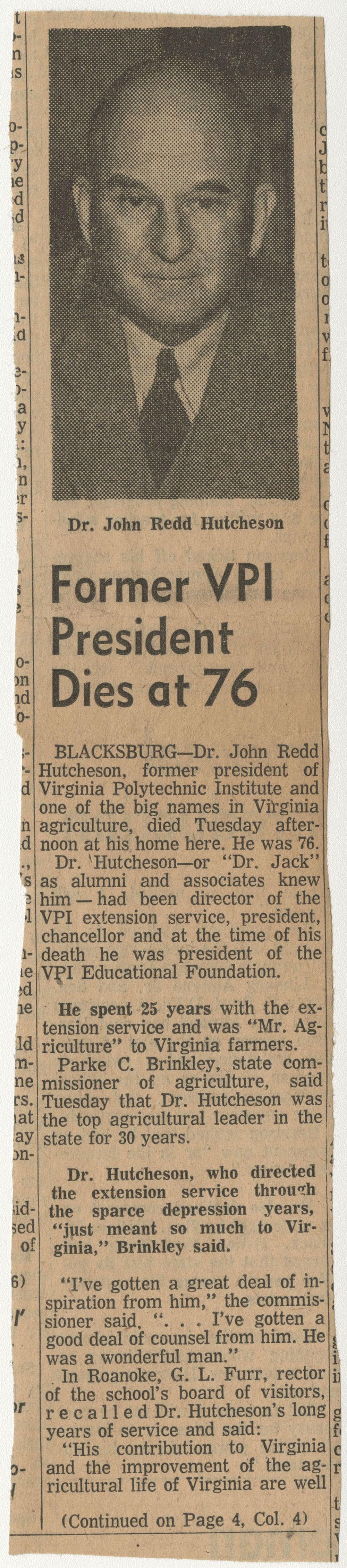 """""""Former VPI President Diest at 76"""""""