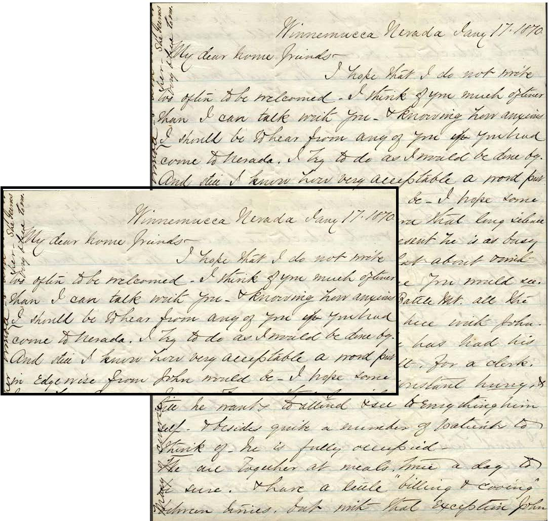 "Letter from Hattie Watkins to ""dear home friends,"" 17 January 1870, Winnemucca, Nevada"