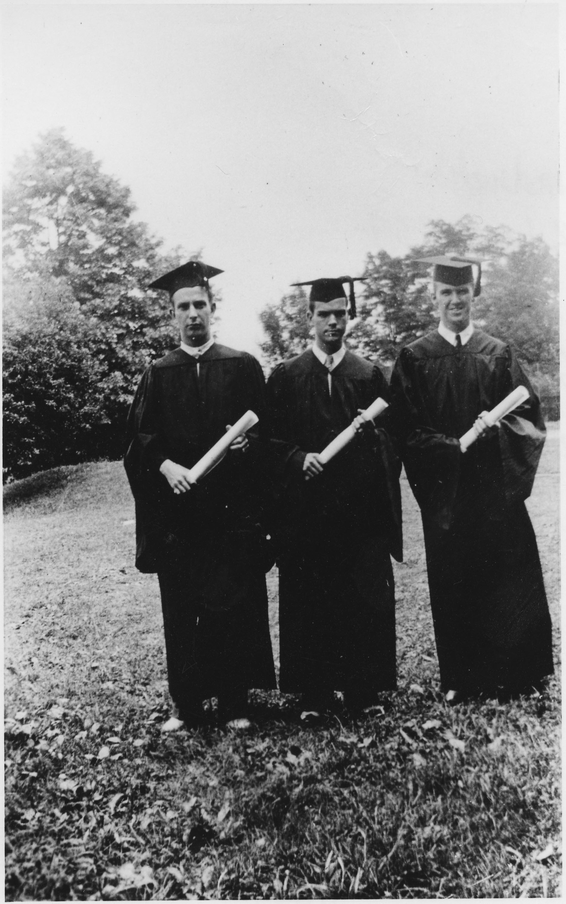 From the Col. Harry Temple Collection, Ms1988-039: Cadets in cap and gown at commencement - VPI