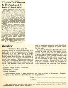 "Techgram, 15 May 1944, announcing the war bond drive to name a B-29 ""Virginia Tech."""
