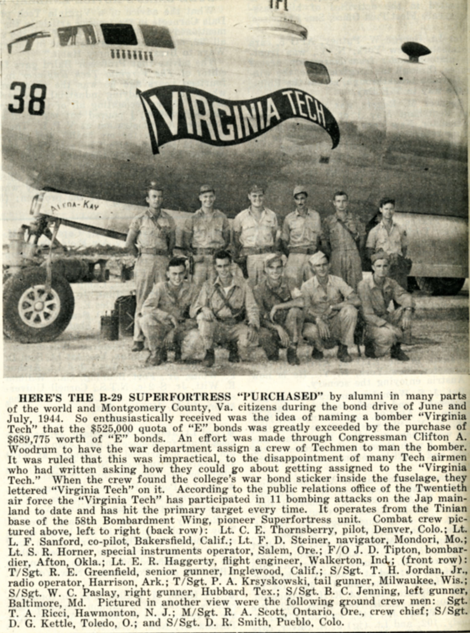 "B-29 ""Virginia Tech"" from The Techgram, 15 August 1945"