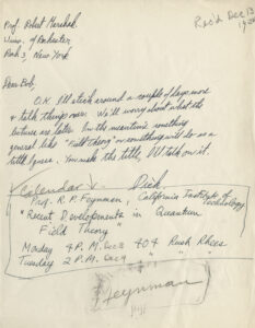 Richard Feynman's Reply, 13 December 1950