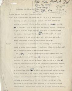 First Rochester Conference, Manuscript Notes and Proceedings, page 1